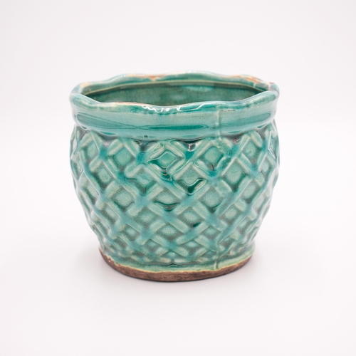 Roasted Espresso French Farmhouse Large Round Pot Swan Creek Candle (Color: Turquoise)