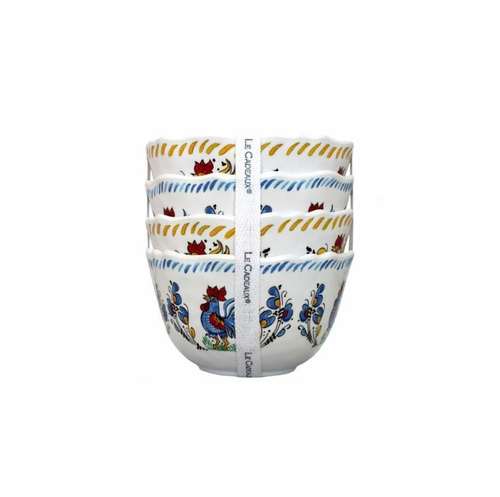 Rooster Blue & Rooster Yellow Dessert Bowls (Set of 4) by Le Cadeaux