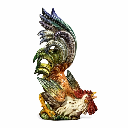 "PRE-ORDER - Available Late August - Rooster Looking Up 28""H x19""W by Intrada Italy"