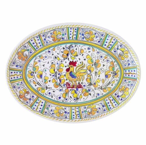 """Rooster Yellow 16"""" Coupe Oval Platter by Le Cadeaux"""