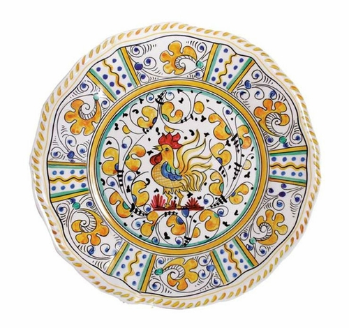 Rooster Yellow Dinner Plate by Le Cadeaux