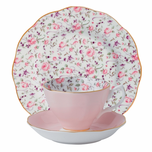 Rose Confetti 3-Piece Teacup Set by Royal Albert - Special Order