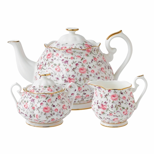 Rose Confetti 3-Piece Teapot Set by Royal Albert - Special Order