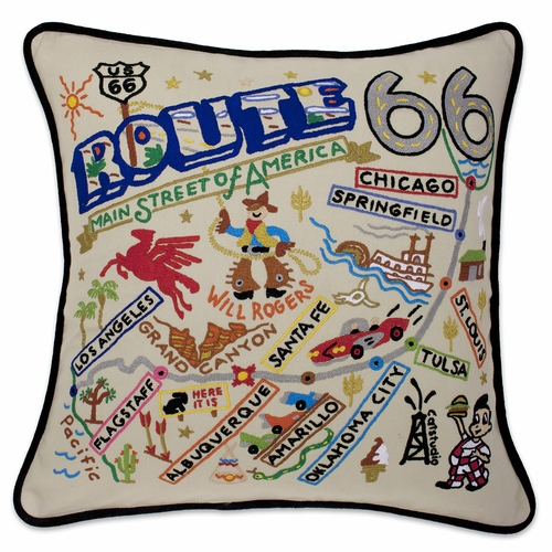 Route 66 XL Hand-Embroidered Pillow by Catstudio (Special Order)
