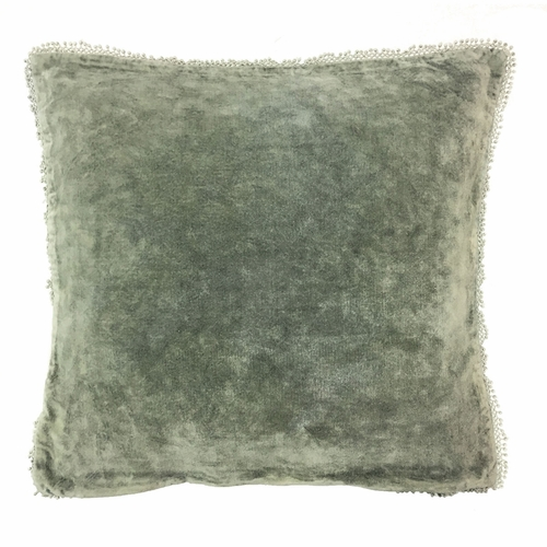 Sage Velvet with Pom Poms Pillow by Sugarboo Designs