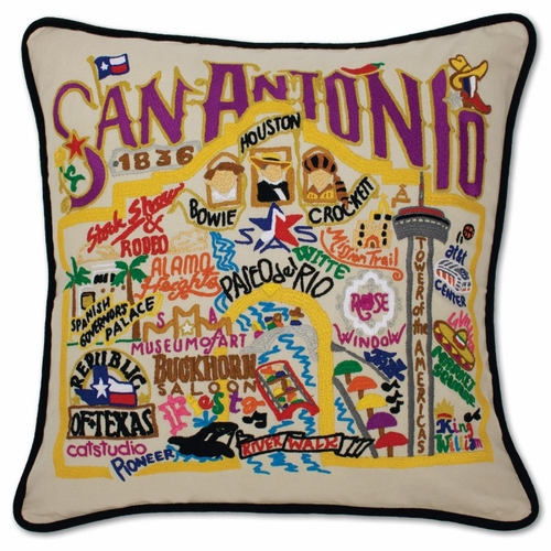 San Antonio XL Hand-Embroidered Pillow by Catstudio (Special Order)