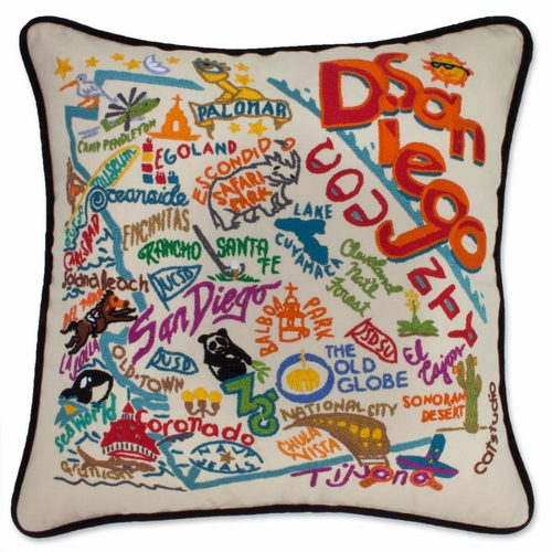 San Diego XL Hand-Embroidered Pillow by Catstudio (Special Order)