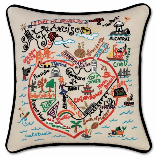 San Francisco XL Hand-Embroidered Pillow by Catstudio (Special Order)