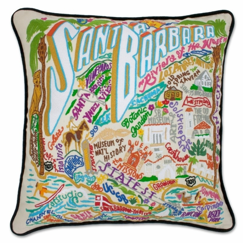Santa Barbara XL Hand-Embroidered Pillow by Catstudio (Special Order)