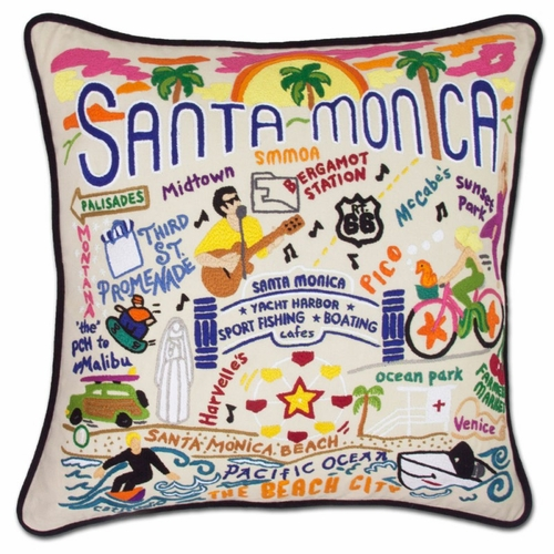 Santa Monica XL Hand-Embroidered Pillow by Catstudio (Special Order)