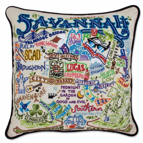 Savannah XL Hand-Embroidered Pillow by Catstudio (Special Order)