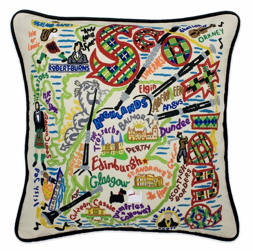 Scotland XL Hand-Embroidered Pillow by Catstudio (Special Order)
