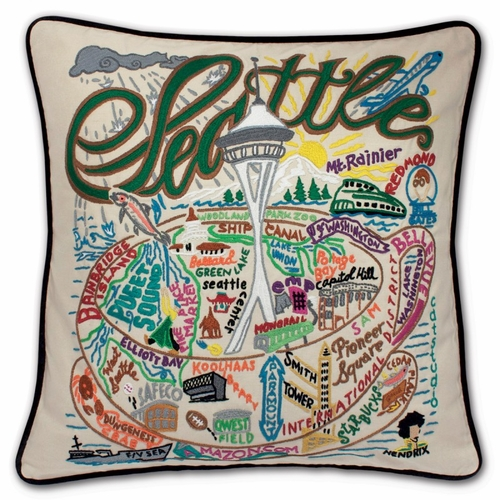 Seattle XL Hand-Embroidered Pillow by Catstudio (Special Order)