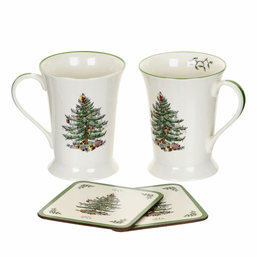 PRE-ORDER - Available August 2018 - Set of 2 Christmas Tree Mugs and Coasters by Pimpernel