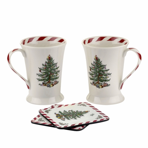 Set of 2 Christmas Tree Peppermint Mugs and Coasters by Pimpernel