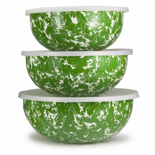 Set of 3 - New Green Swirl Mixing Bowls by Golden Rabbit