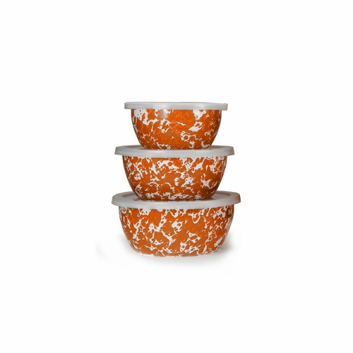 Set of 3 - Orange Swirl Nesting Bowls by Golden Rabbit