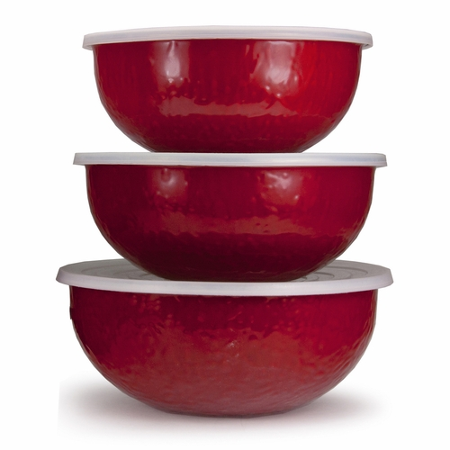 Set of 3 - Solid Red Mixing Bowls by Golden Rabbit