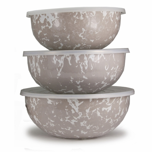 Set of 3 - Taupe Mixing Bowls by Golden Rabbit