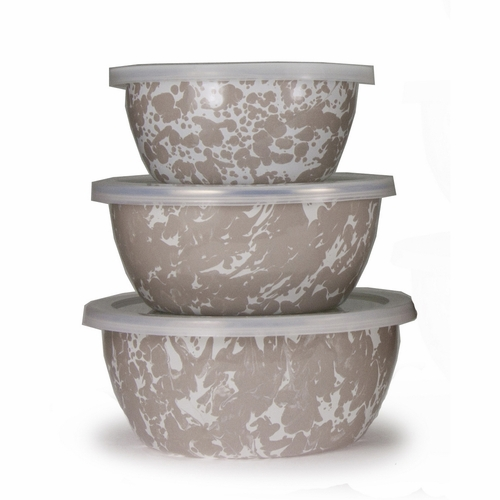 Set of 3 - Taupe Nesting Bowls by Golden Rabbit