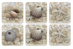 Set of 6 Beach Prize Coasters by Pimpernel