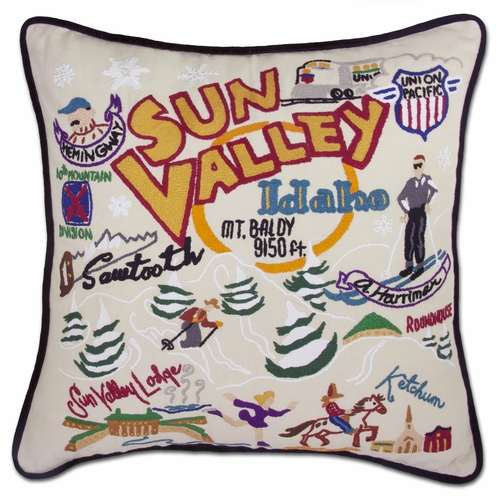 Ski Sun Valley XL Hand-Embroidered Pillow by Catstudio (Special Order)