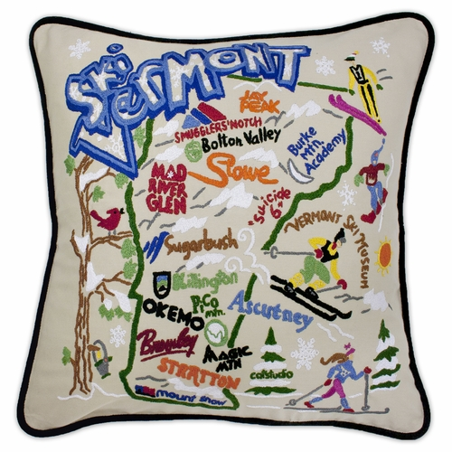 Ski Vermont XL Hand-Embroidered Pillow by Catstudio (Special Order)