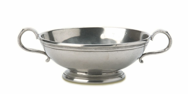 Small Low Footed Bowl With Handles By Match Pewter