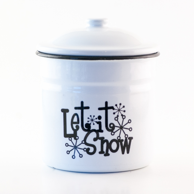 Snowflakes At Midnight Festive Holiday Enamelware Large