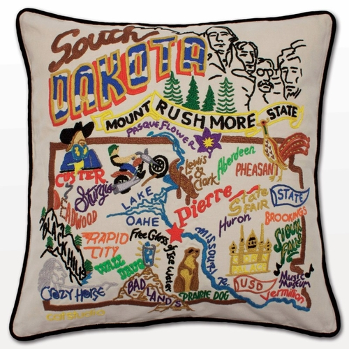 South Dakota XL Hand-Embroidered Pillow by Catstudio (Special Order)