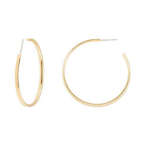 "Stella Valle I Am a Woman Warrior 2"" Gold Hoop Earrings"