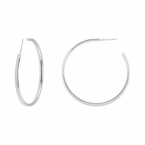 "Stella Valle I Am a Woman Warrior 2"" Silver Hoop Earrings"