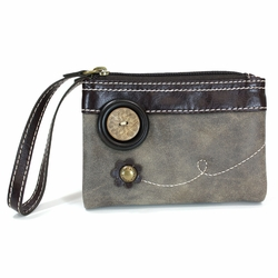 Stone Gray Double Zip Wallet