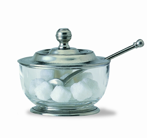 Sugar Bowl with Spoon by Match Pewter