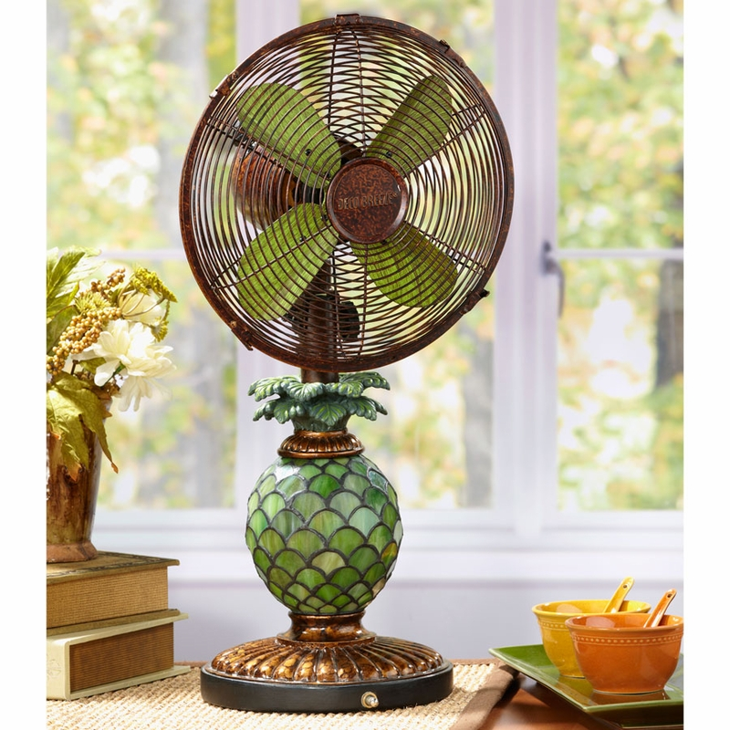 Table Top Fan/Lamp - Mosaic Glass Pineapple - (Available ...