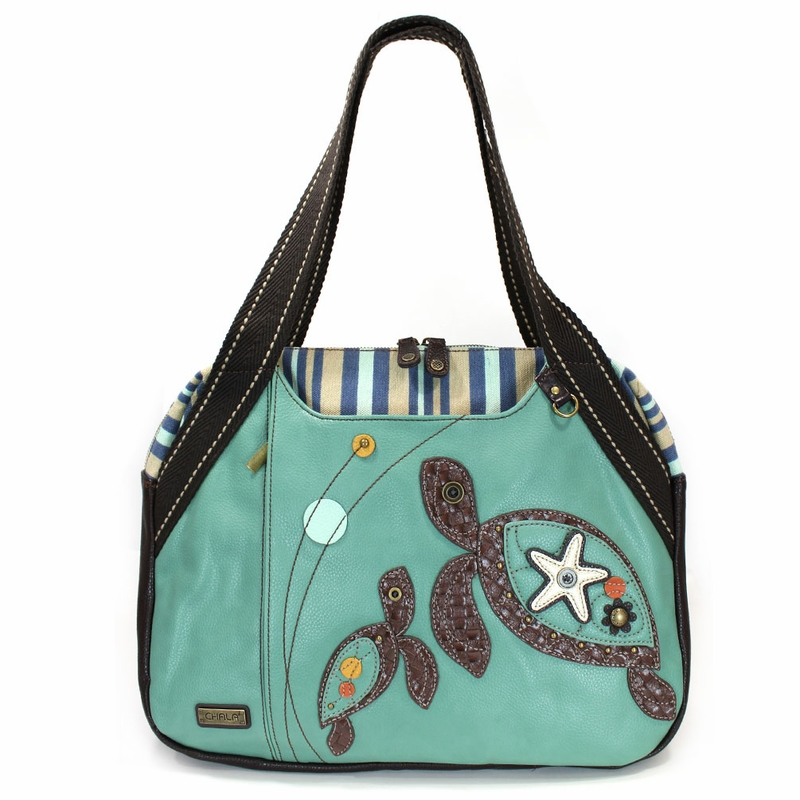 turtle bag with stick teal turtle bowling bag