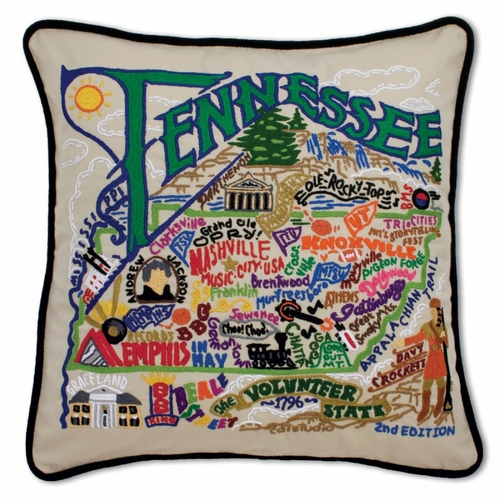 Tennessee XL Hand-Embroidered Pillow by Catstudio (Special Order)