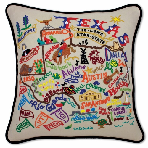Texas XL Hand-Embroidered Pillow by Catstudio (Special Order)