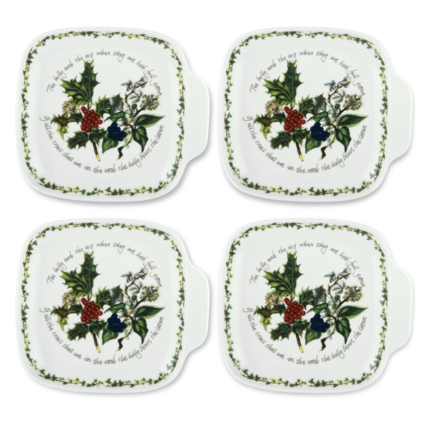 The holly the ivy set of 4 canape plates by portmeirion for Canape plate sets