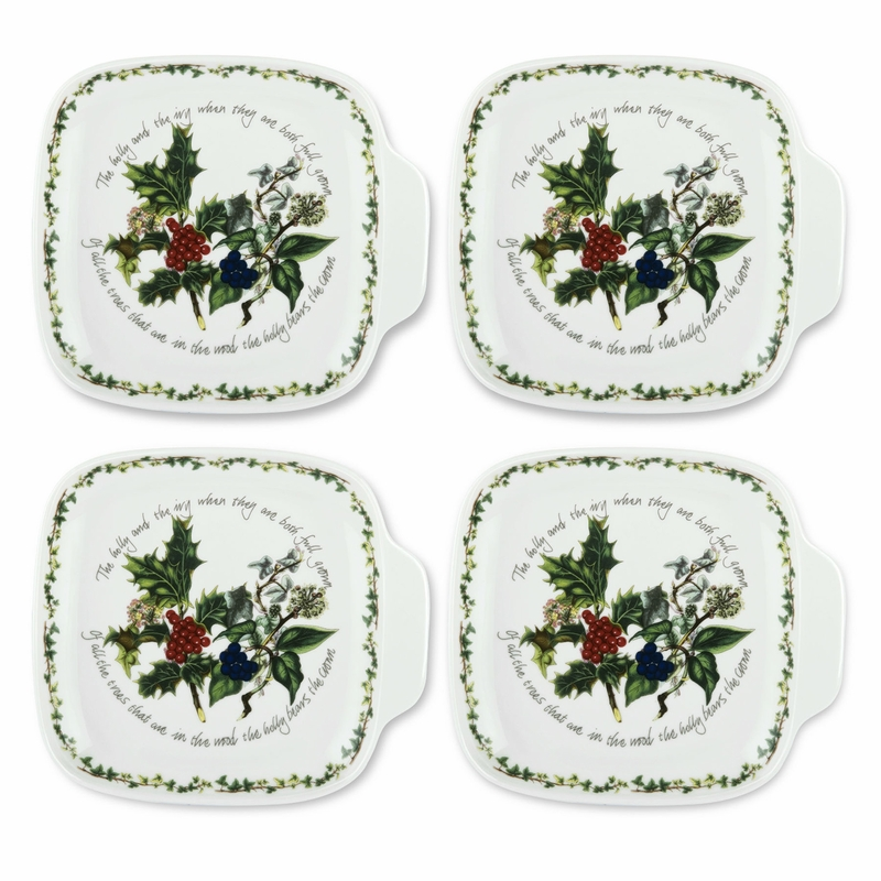 The holly the ivy set of 4 canape plates by portmeirion for Portmeirion dinnerware set of 4 botanic garden canape plates