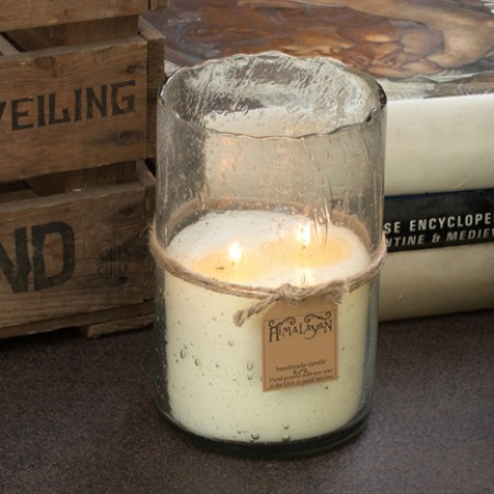 Tobacco Bark 32 oz Silver Hurricane Candle by Himalayan Candles