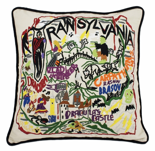 Transylvania XL Hand-Embroidered Pillow by Catstudio (Special Order)