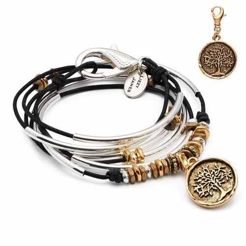 Trixy with Gold Tree Pendant Natural Black Large Bracelet by Lizzy James