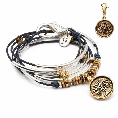 Trixy with Gold Tree Pendant Natural True Blue Small Bracelet by Lizzy James