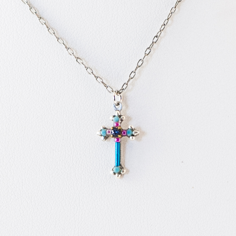 Turquoise Dainty Color Cross Necklace 8496 Firefly Jewelry
