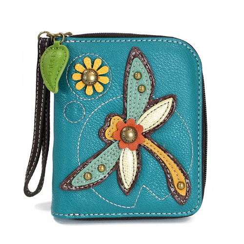 Turquoise Dragonfly Zip-Around Wallet