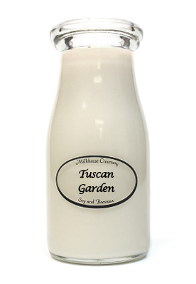 Tuscan Garden 8 oz. Milkbottle Candle by Milkhouse Candle Creamery