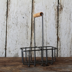 Two Cell Welded Metal Milkbottle Holder by Milkhouse Candle Creamery