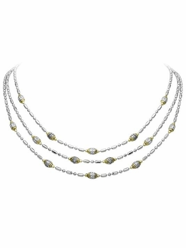 Two-Tone Triple Strand Beaded Necklace by John Medeiros