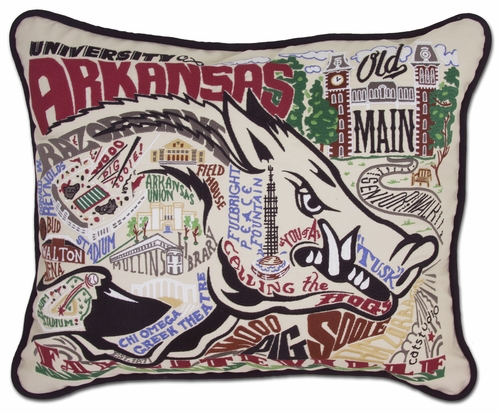 University of Arkansas XL Embroidered Pillow by Catstudio (Special Order)